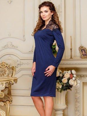 Платье с кружевом темно-синего цвета | 4066364