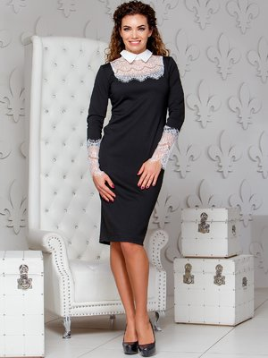Платье-карандаш с кружевом черного цвета | 4066368
