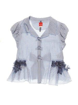 Блуза голубая в клетку   4064850