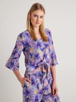 Блуза фіолетова в принт | 4090176