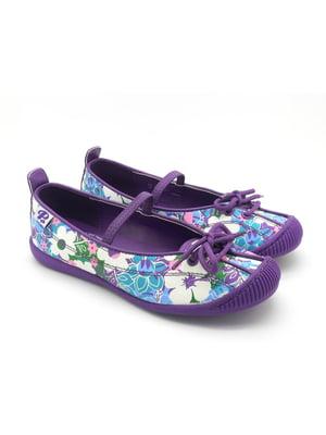 Балетки фіолетові у квітковий принт   4112312