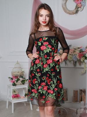 Платье черное в цветочный принт | 4113664