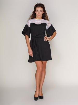Платье черного цвета с белым кружевом | 4028169