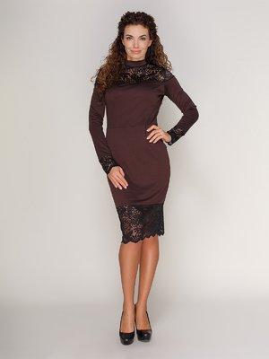Платье с кружевом коричневое | 3821205