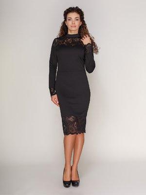 Платье с кружевом черное | 3821206