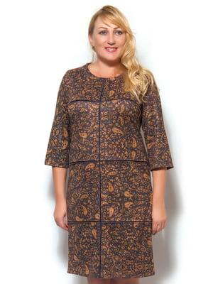 Сукня коричнева в принт | 4100542