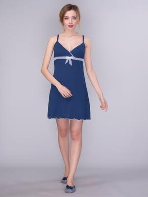 Рубашка ночная синяя в горох | 2108396