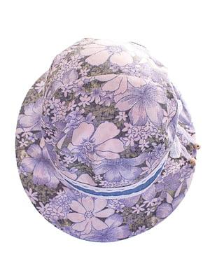 Капелюх блакитний у квітковий принт | 4125481