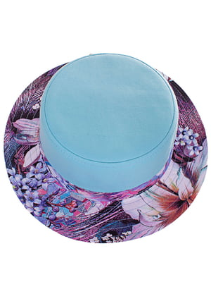 Шляпа голубая с цветочным принтом | 4125487