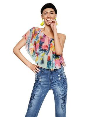 Блуза в разноцветный принт | 4141520