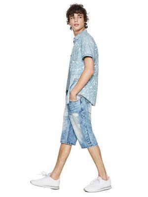 Рубашка голубая в принт | 4141515