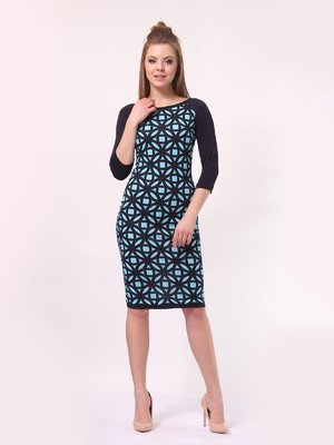 Сукня темно-синя в блакитний принт | 4142235