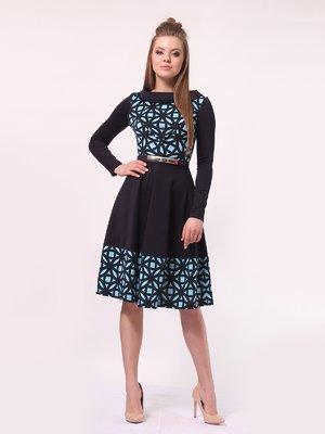 Сукня темно-синя в блакитний принт | 4142308