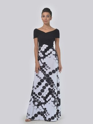 Платье черно-белое в горох | 4142162