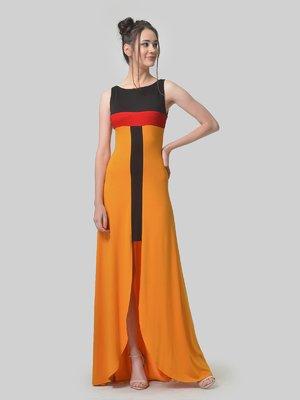 Сукня гірчичного кольору з контрастними вставками | 4142170