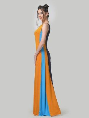 Сукня гірчично-синього кольору з контрастними вставками | 4142243