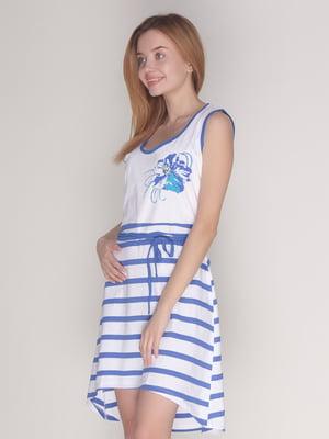 Платье бело-синее в полоску | 4137586