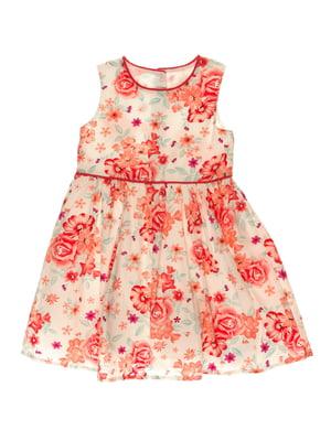 Платье белое в цветочный принт | 4117124