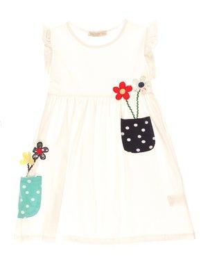 Платье белое с цветочным принтом | 4016762