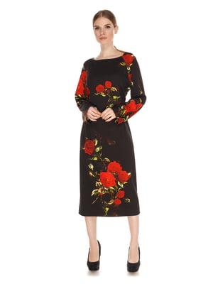 Сукня чорна з квітковим принтом | 4118285