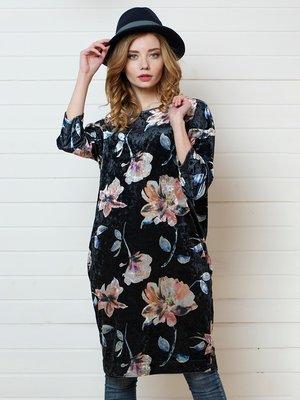 Сукня синя в квітковий принт | 4157290