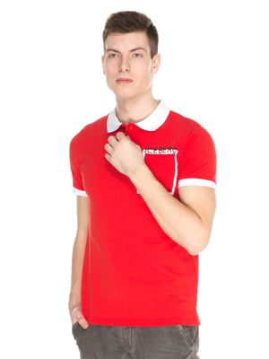 Футболка-поло красная с принтом | 4152601
