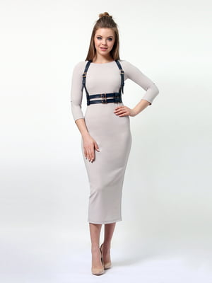 Сукня бежева з портупеєю | 4161475
