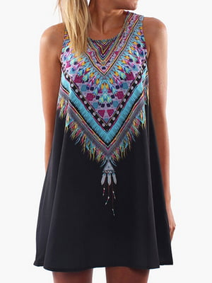 Платье черное с принтом | 4166281