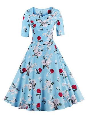Сукня блакитна в квітковий принт   4166494