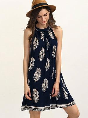 Платье темно-синее в принт | 4166611