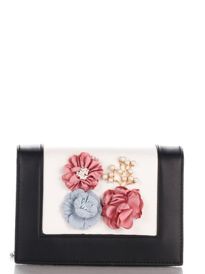 Сумка чорна з квітами | 4142010