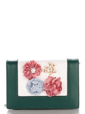 Сумка зелена з квітами | 4142011