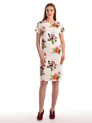 Сукня біла в квітковий принт | 4174119