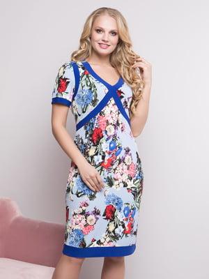 Сукня блакитна в квітковий принт | 4175746