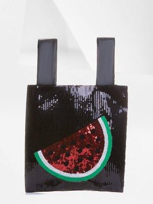 Сумка-шоппер черная с пайетками | 4175814
