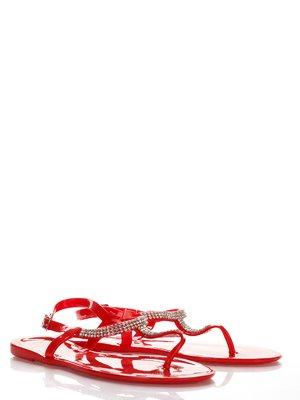 Сандалии-вьетнамки красные с декором | 2561658