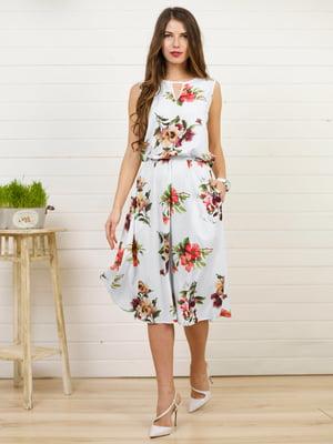 Платье белое в цветочный принт | 4183025