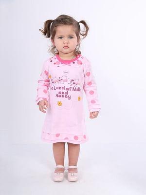 Рубашка ночная розовая с принтом | 4182853