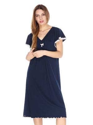 Рубашка ночная синяя с кружевной отделкой | 2918056