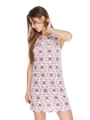 Сорочка нічна фіолетова у принт | 4173643