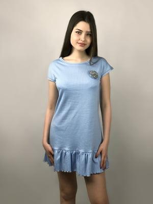 Рубашка ночная голубая в горошек   4165590