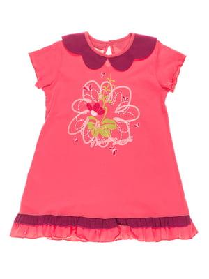 Платье розовое с принтом | 4182839