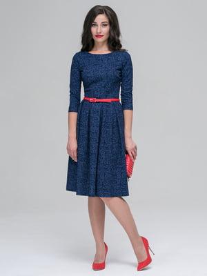 Платье синее в принт | 3551481