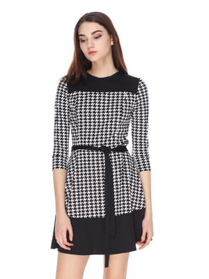 Платье черно-белое в «гусиную лапку» | 4173476