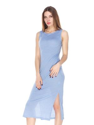 Платье голубое в полоску | 4173490