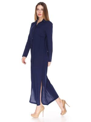 Платье темно-синее в принт | 3593542