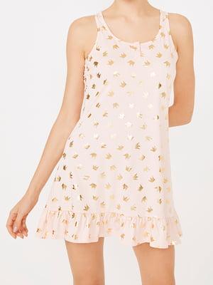 Рубашка ночная бежевая с принтом | 4140320