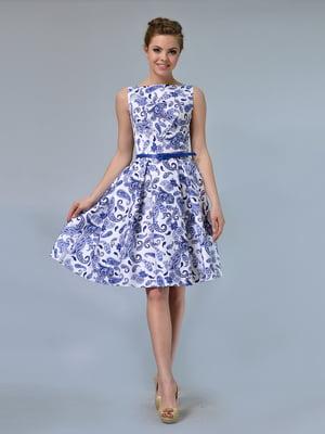 Сукня біла в принт | 4152007