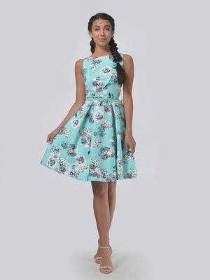 Сукня кольору м'яти в квітковий принт | 4152022