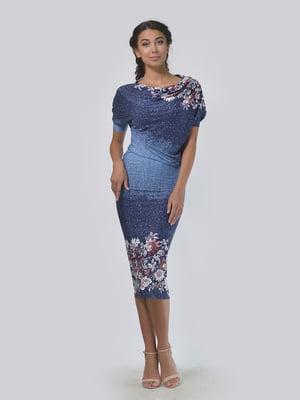 Сукня темно-синя в принт | 4152026